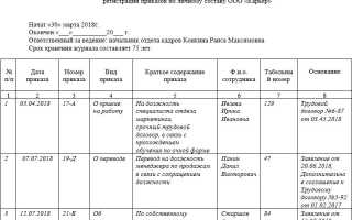 Журнал регистрации журнала приказов по личному составу