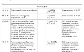 Сроки хранения документов по номенклатуре дел
