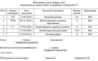 Внутренняя опись документов личного дела